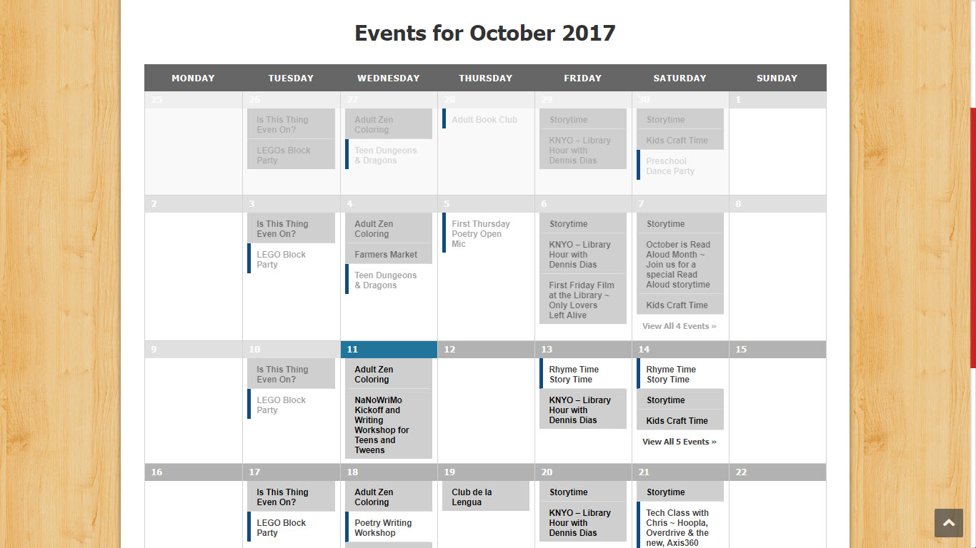 Events Calendar -- Friends of the Fort Bragg Library