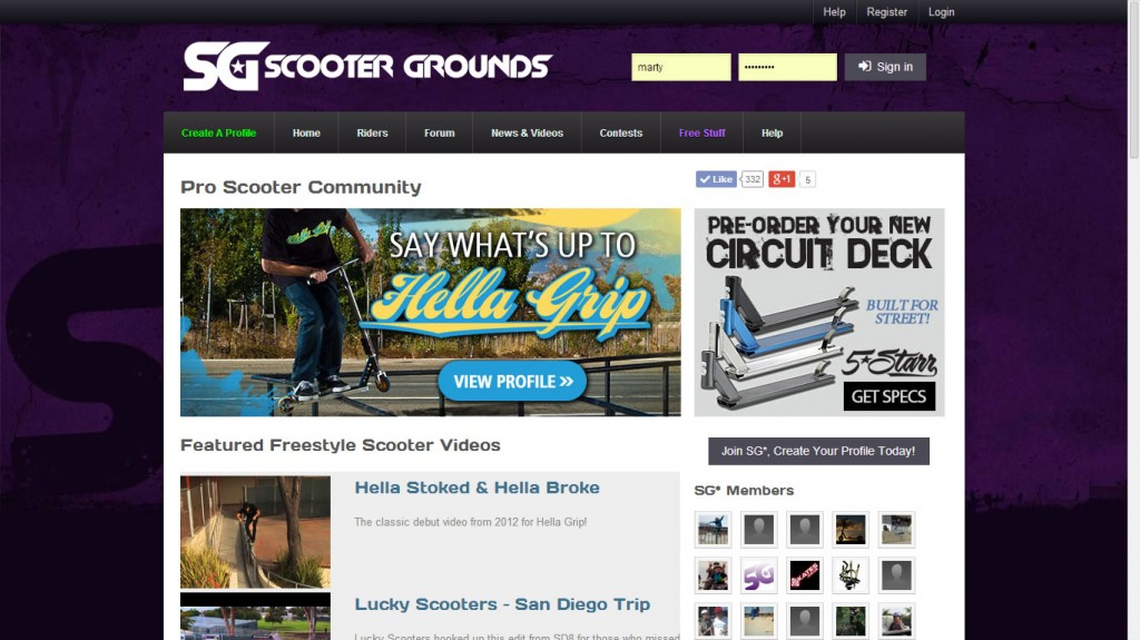 Scooter Grounds, Pro Scooter Community